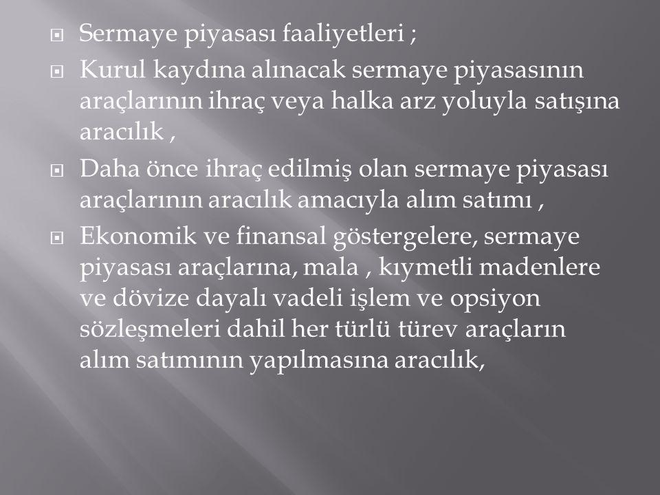 Sermaye piyasası faaliyetleri ;