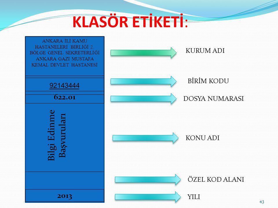 KLASÖR ETİKETİ: Bilgi Edinme Başvuruları 622.01 2013 KURUM ADI
