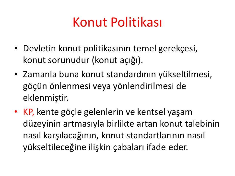 Konut Politikası Devletin konut politikasının temel gerekçesi, konut sorunudur (konut açığı).