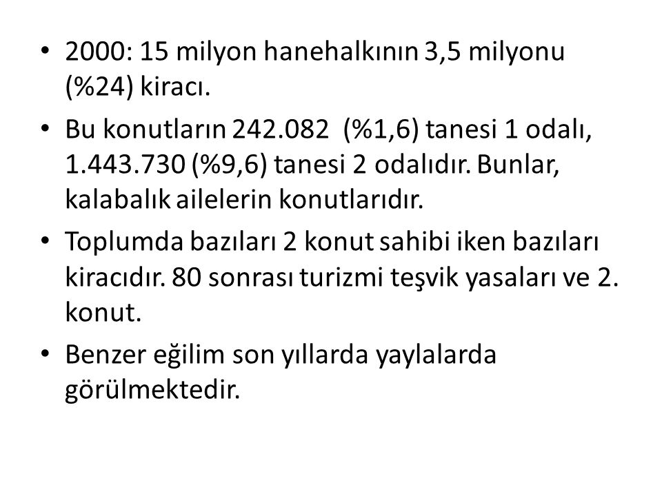 2000: 15 milyon hanehalkının 3,5 milyonu (%24) kiracı.