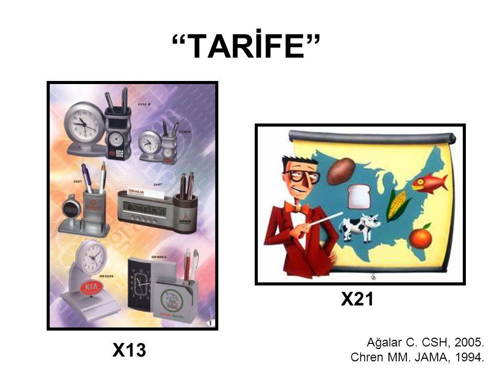 TARİFE X21 Ağalar C. CSH, 2005. Chren MM. JAMA, 1994. X13