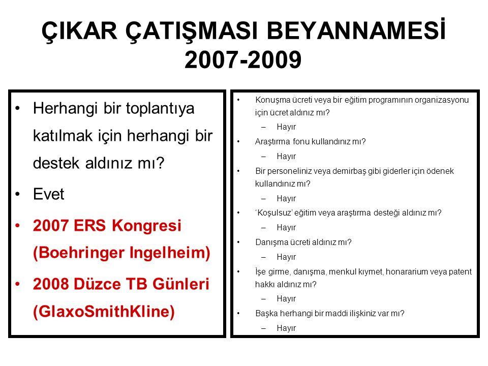 ÇIKAR ÇATIŞMASI BEYANNAMESİ 2007-2009
