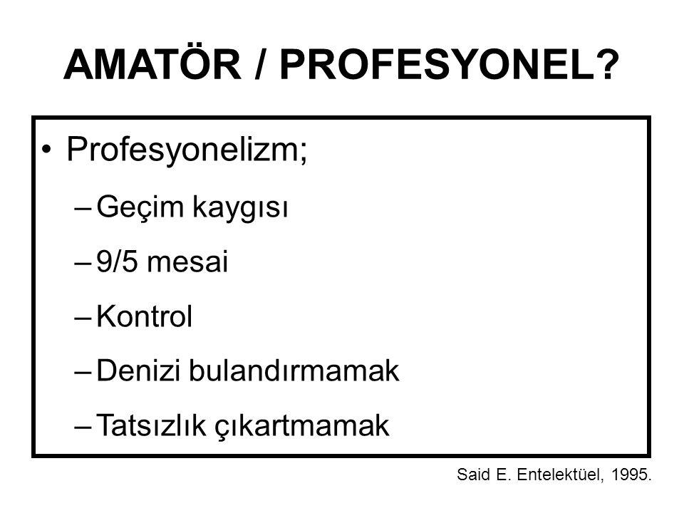 AMATÖR / PROFESYONEL Profesyonelizm; Geçim kaygısı 9/5 mesai Kontrol