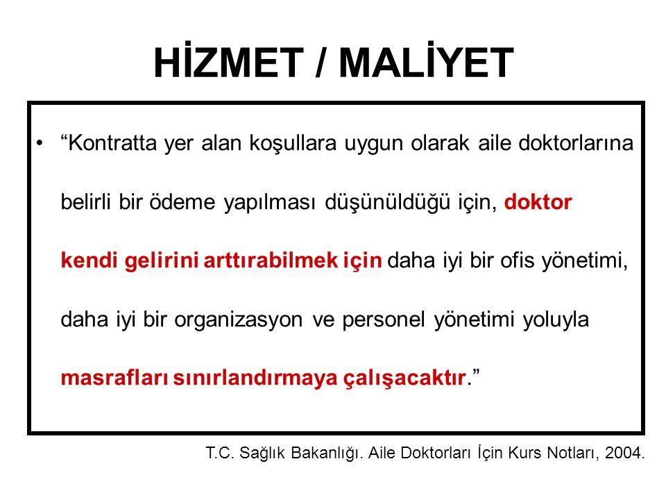HİZMET / MALİYET