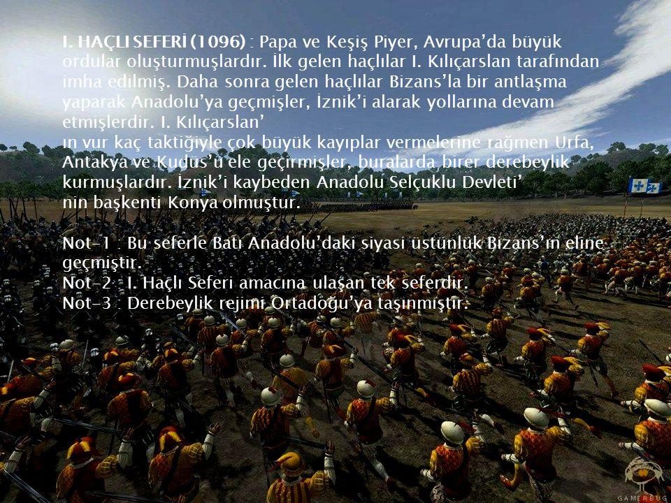 I. HAÇLI SEFERİ (1096) : Papa ve Keşiş Piyer, Avrupa'da büyük ordular oluşturmuşlardır.