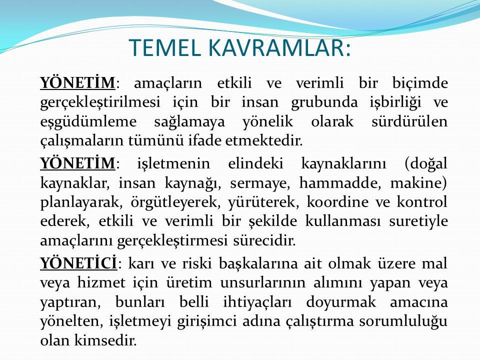 TEMEL KAVRAMLAR:
