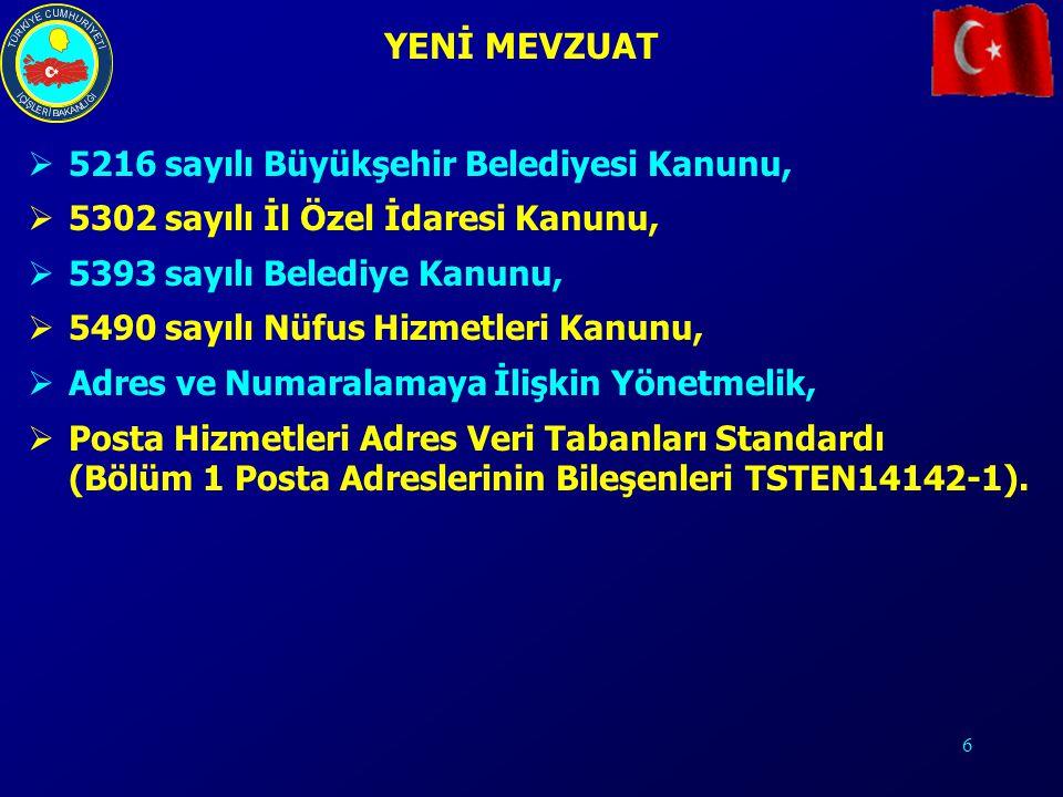 YENİ MEVZUAT 5216 sayılı Büyükşehir Belediyesi Kanunu,