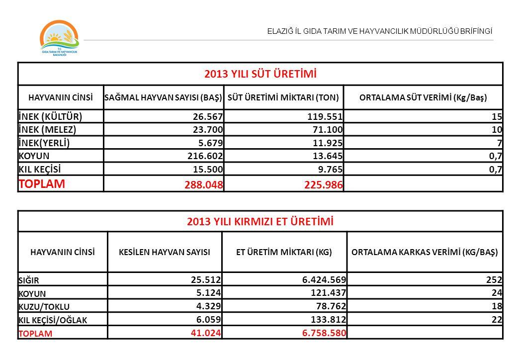 TOPLAM 2013 YILI SÜT ÜRETİMİ 288.048 225.986