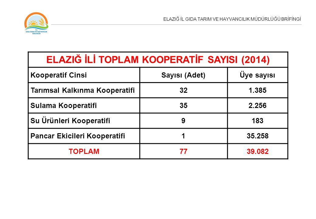 ELAZIĞ İLİ TOPLAM KOOPERATİF SAYISI (2014)