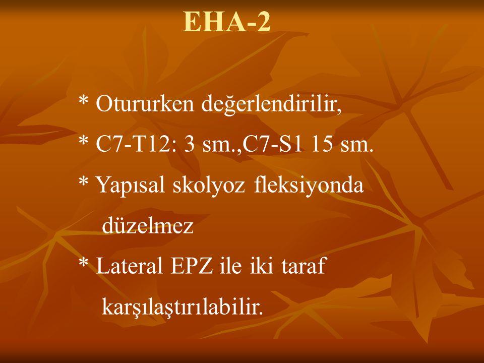 EHA-2 * Otururken değerlendirilir, * C7-T12: 3 sm.,C7-S1 15 sm.
