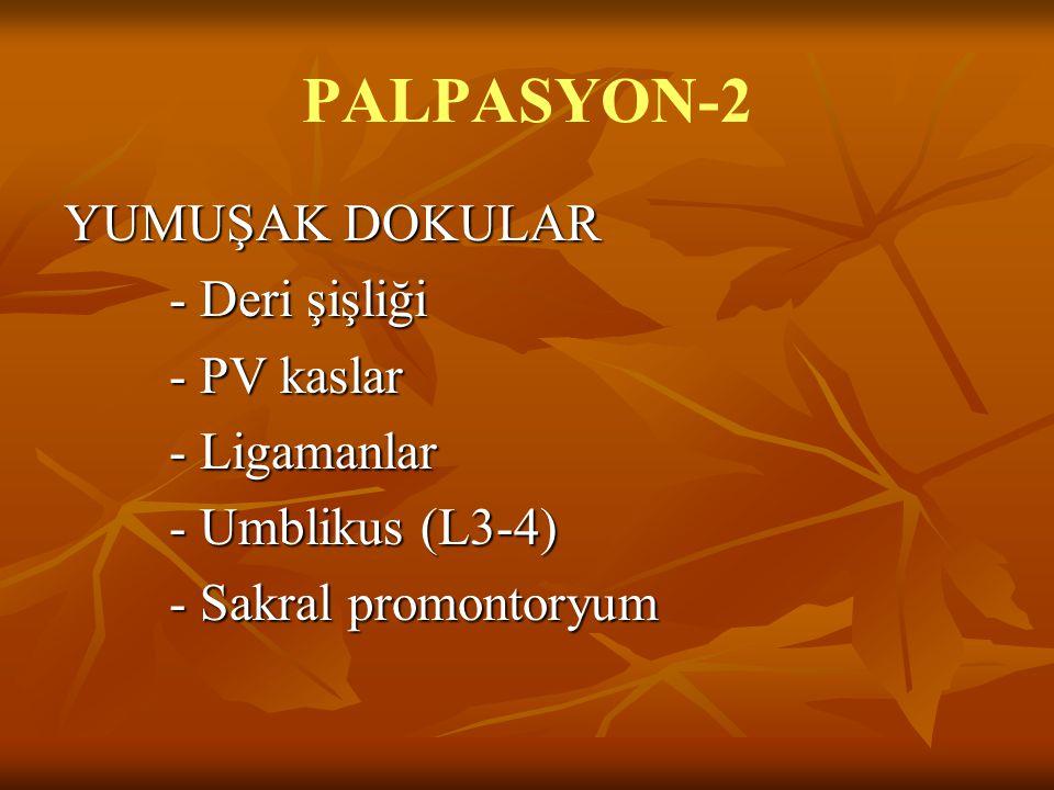 PALPASYON-2 YUMUŞAK DOKULAR - Deri şişliği - PV kaslar - Ligamanlar