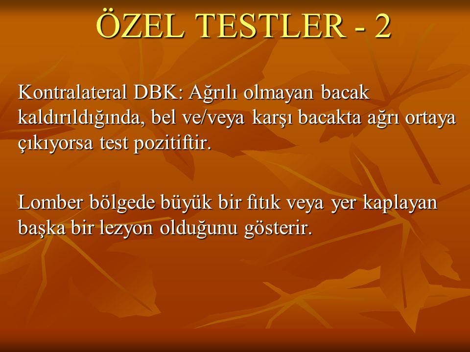 ÖZEL TESTLER - 2 Kontralateral DBK: Ağrılı olmayan bacak kaldırıldığında, bel ve/veya karşı bacakta ağrı ortaya çıkıyorsa test pozitiftir.