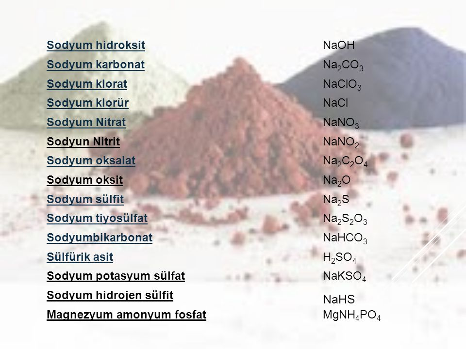 NaHS Sodyum hidroksit NaOH Sodyum karbonat Na2CO3 Sodyum klorat NaClO3