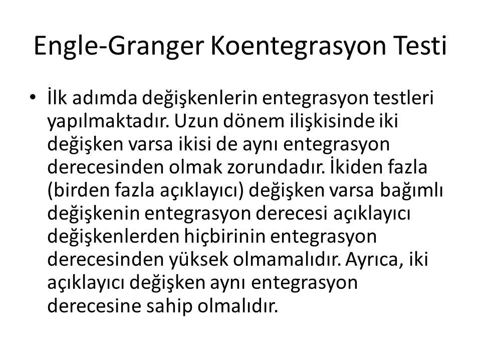 Engle-Granger Koentegrasyon Testi