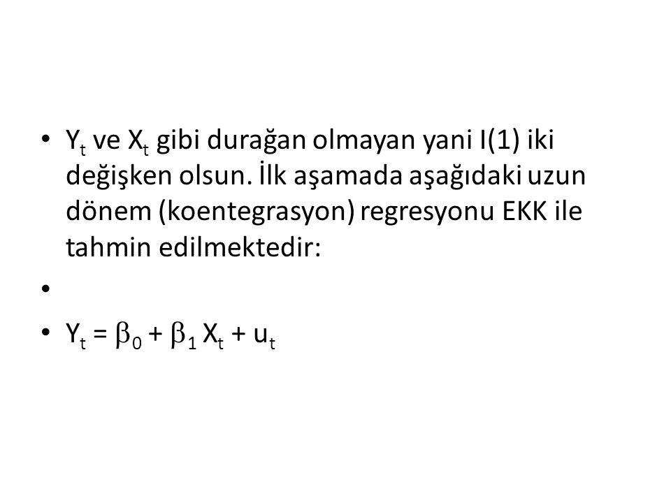 Yt ve Xt gibi durağan olmayan yani I(1) iki değişken olsun