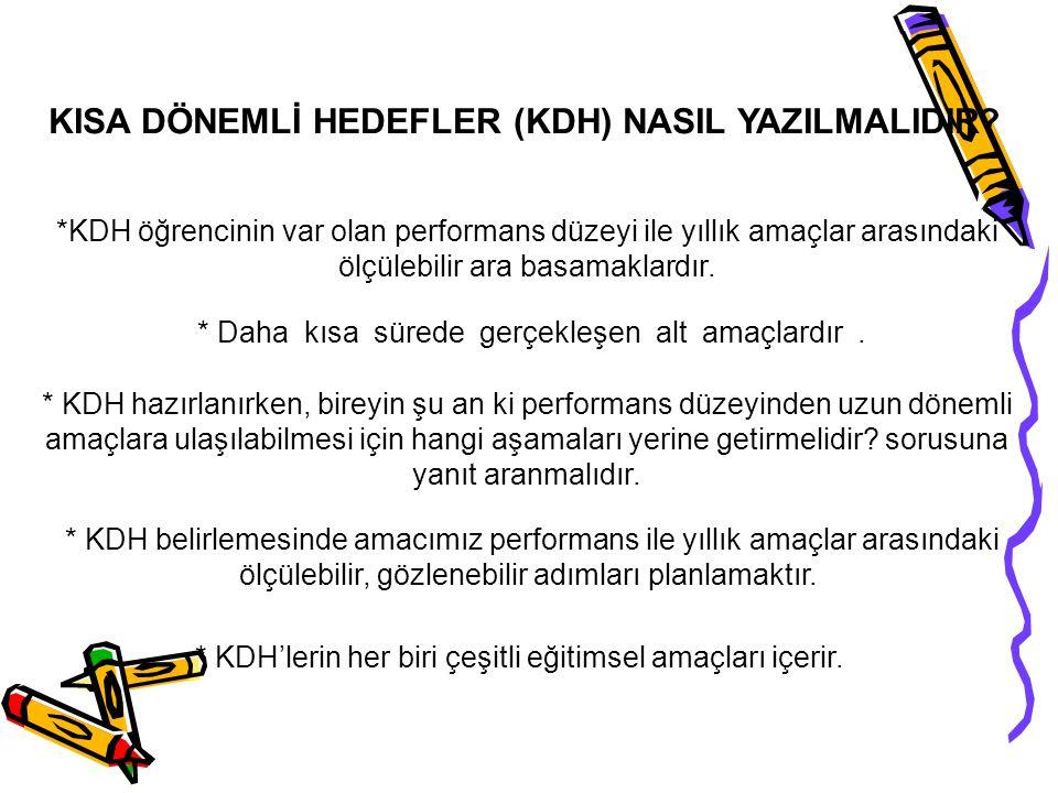 KISA DÖNEMLİ HEDEFLER (KDH) NASIL YAZILMALIDIR