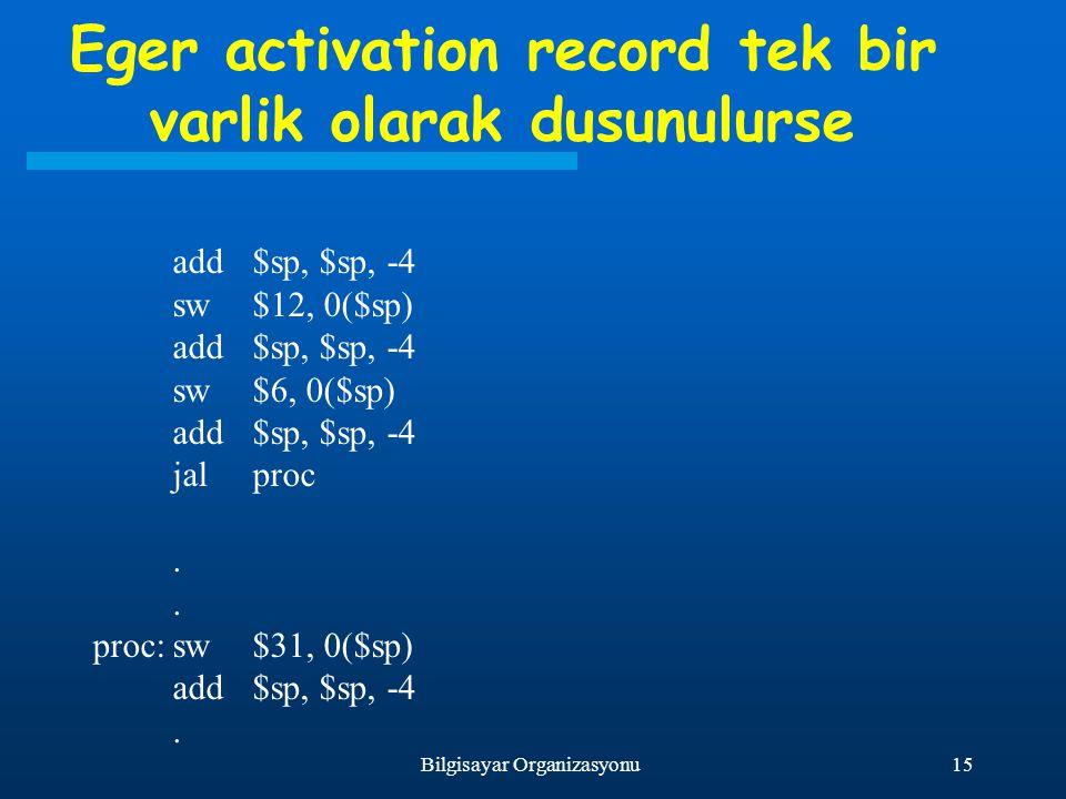 Eger activation record tek bir varlik olarak dusunulurse