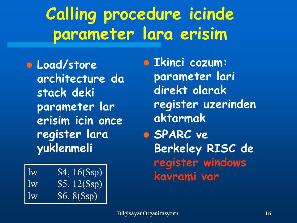 Calling procedure icinde parameter lara erisim