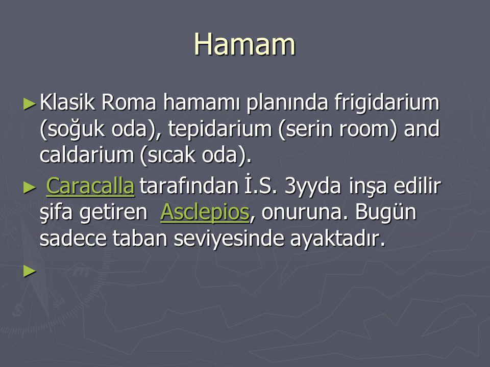 Hamam Klasik Roma hamamı planında frigidarium (soğuk oda), tepidarium (serin room) and caldarium (sıcak oda).
