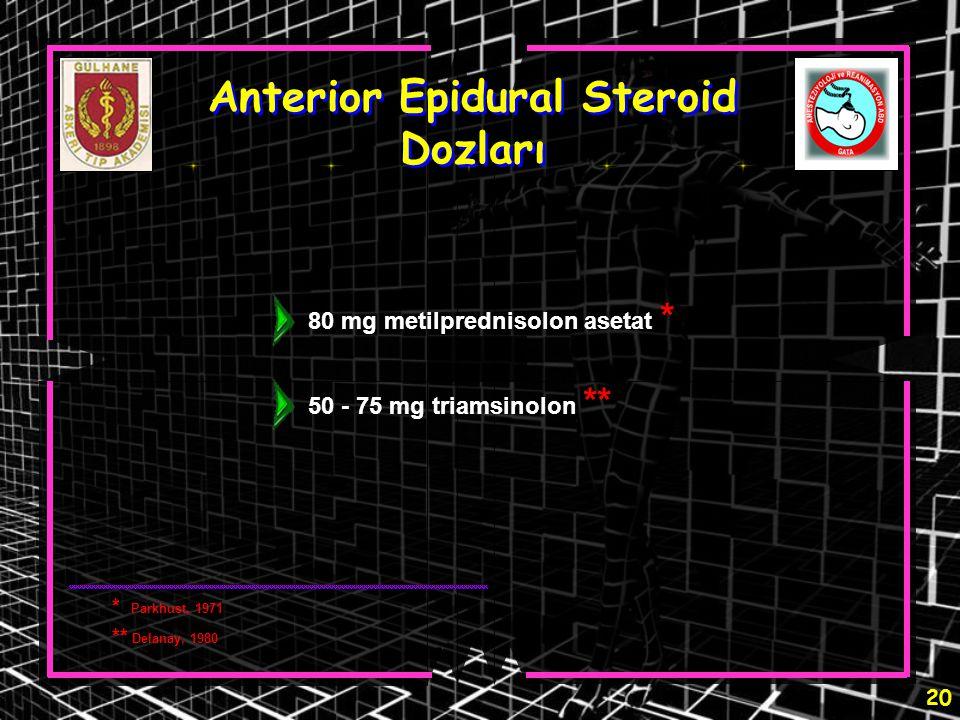 Anterior Epidural Steroid Dozları