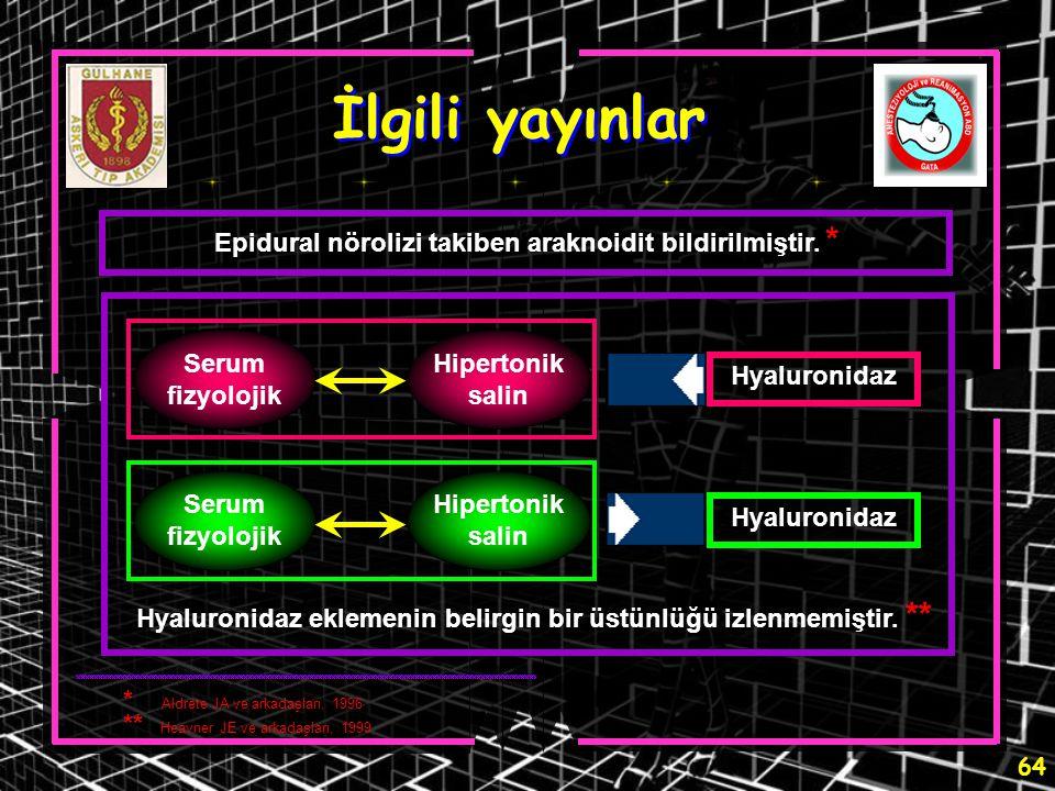 İlgili yayınlar Epidural nörolizi takiben araknoidit bildirilmiştir. *