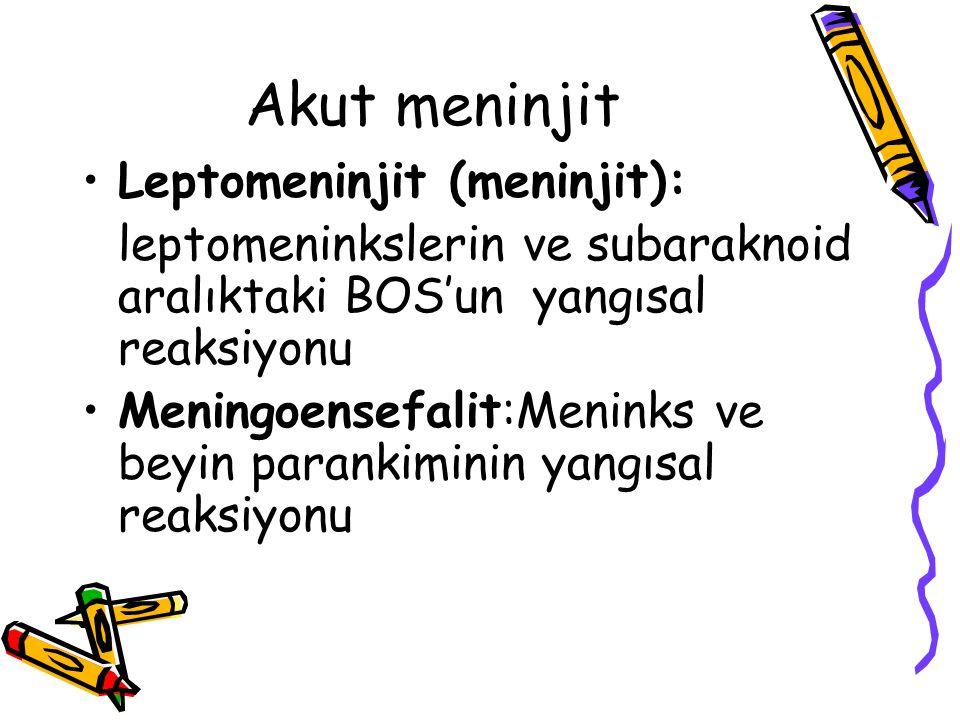 Akut meninjit Leptomeninjit (meninjit):