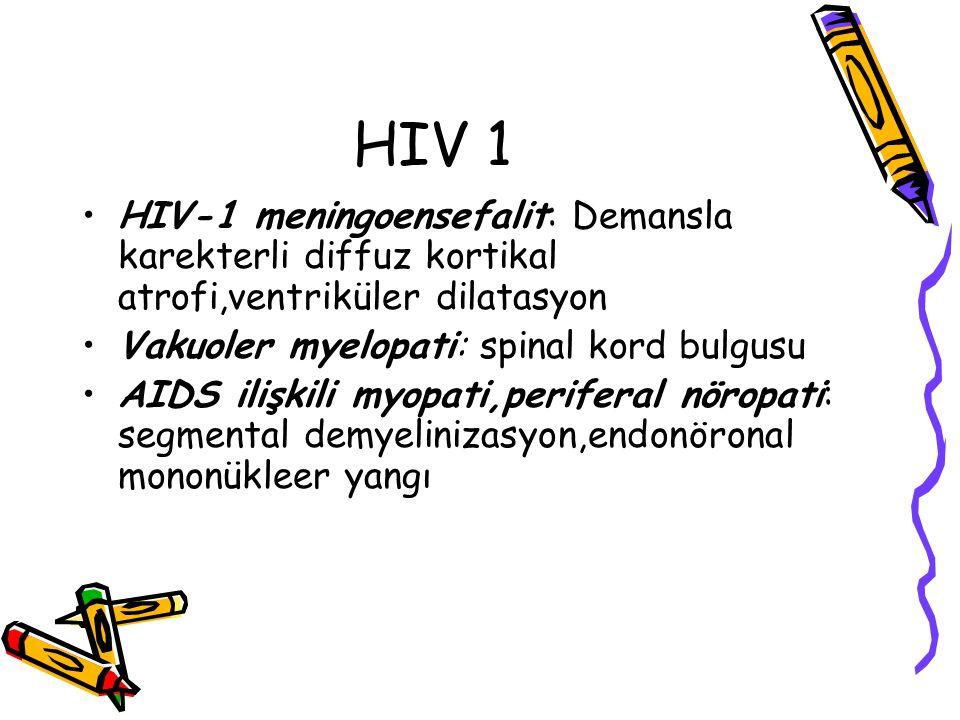 HIV 1 HIV-1 meningoensefalit: Demansla karekterli diffuz kortikal atrofi,ventriküler dilatasyon. Vakuoler myelopati: spinal kord bulgusu.