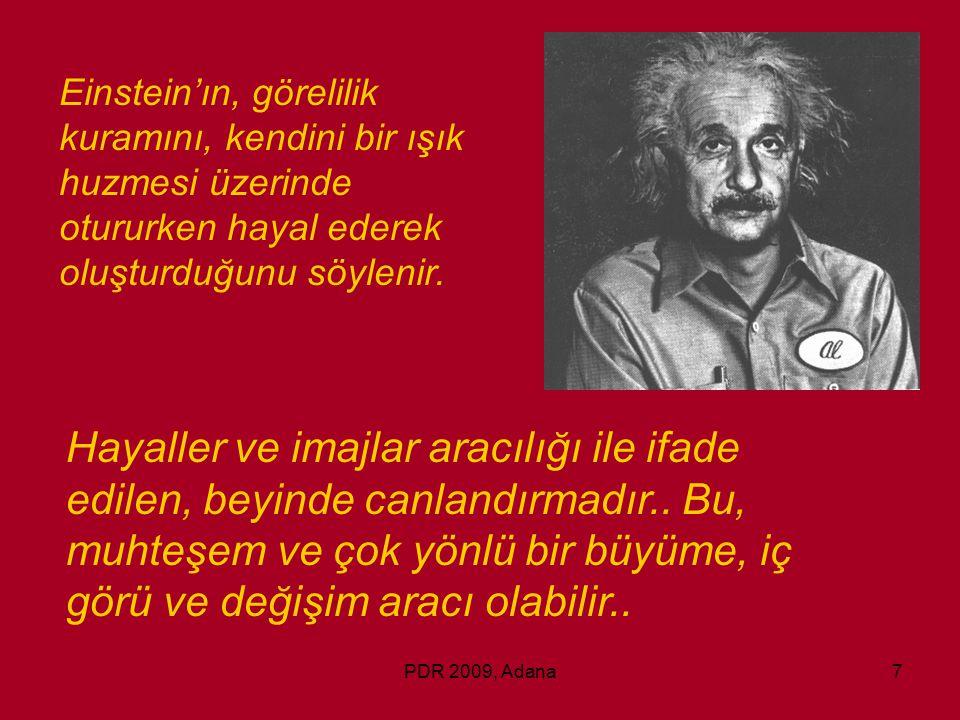 Einstein'ın, görelilik kuramını, kendini bir ışık huzmesi üzerinde otururken hayal ederek oluşturduğunu söylenir.