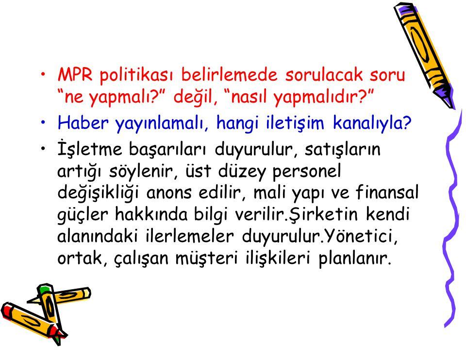 MPR politikası belirlemede sorulacak soru ne yapmalı