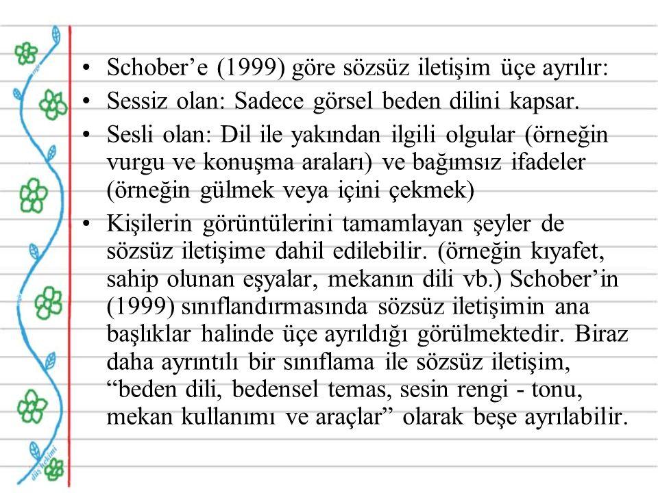Schober'e (1999) göre sözsüz iletişim üçe ayrılır: