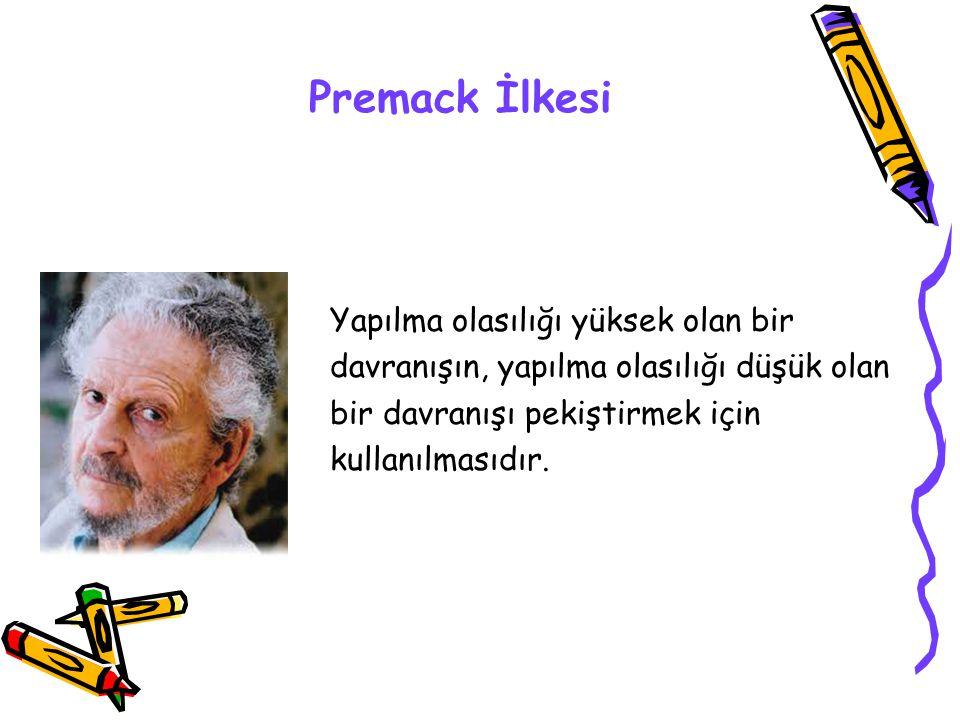 Premack İlkesi Yapılma olasılığı yüksek olan bir