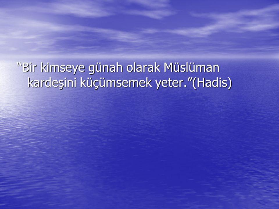 Bir kimseye günah olarak Müslüman kardeşini küçümsemek yeter. (Hadis)