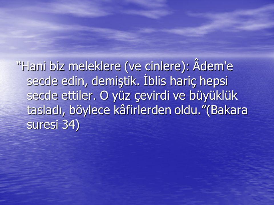Hani biz meleklere (ve cinlere): Âdem e secde edin, demiştik