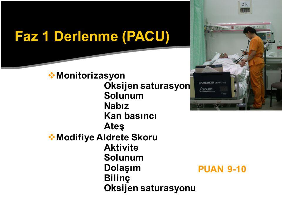 Faz 1 Derlenme (PACU) Monitorizasyon Oksijen saturasyonu Solunum Nabız