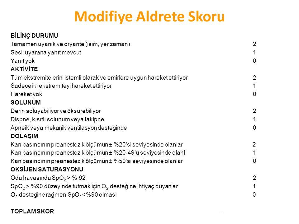 Modifiye Aldrete Skoru