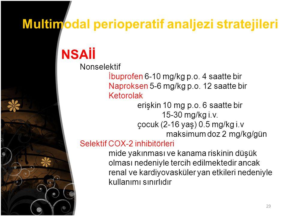 Multimodal perioperatif analjezi stratejileri