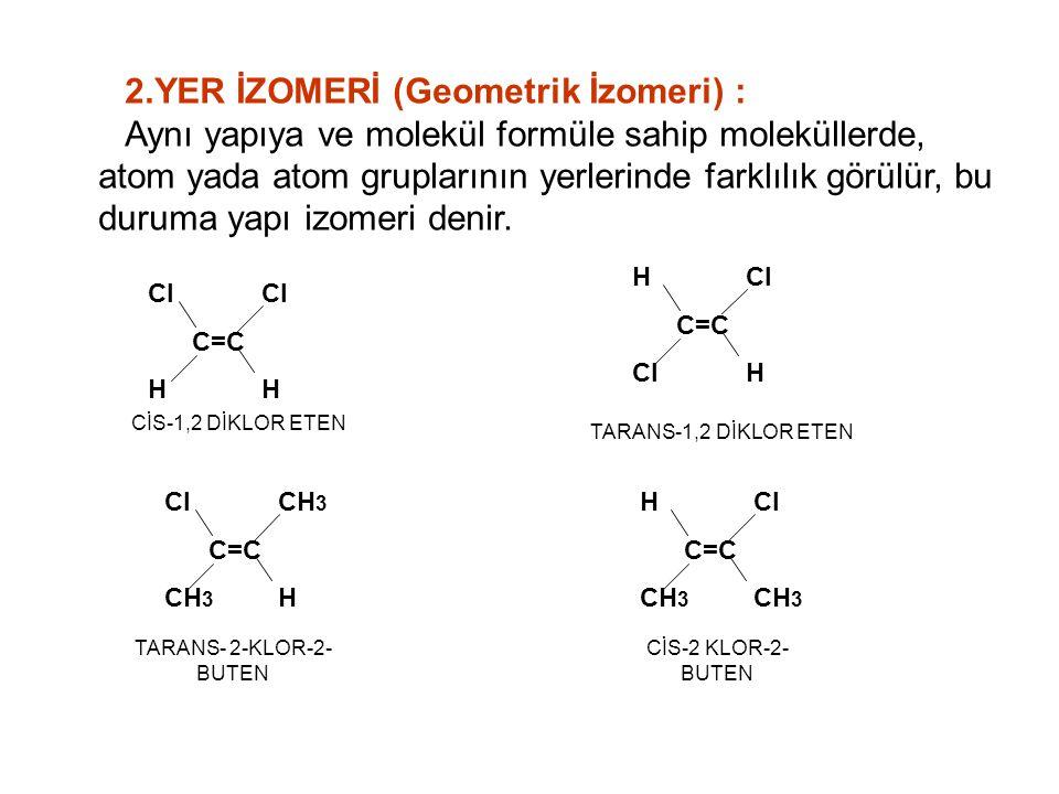 2.YER İZOMERİ (Geometrik İzomeri) :