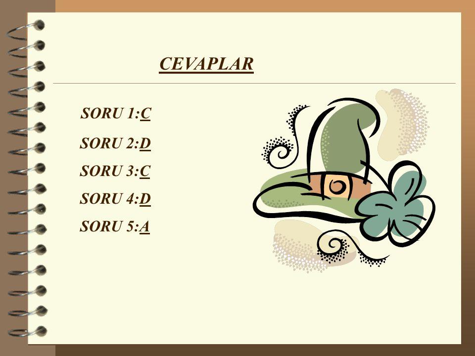 CEVAPLAR SORU 1:C SORU 2:D SORU 3:C SORU 4:D SORU 5:A
