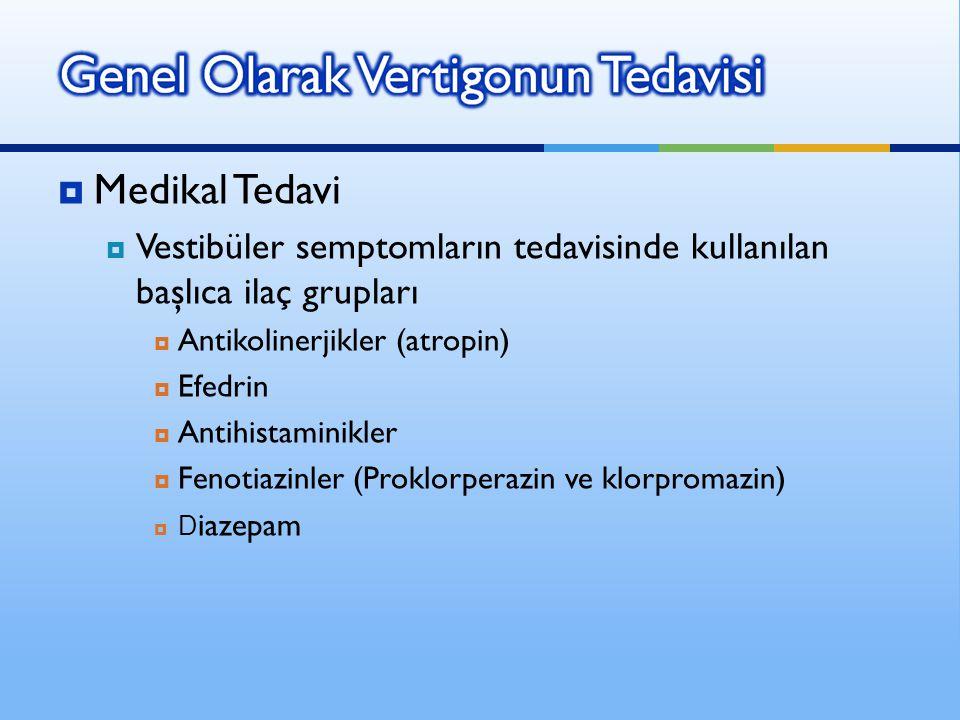 Medikal Tedavi Vestibüler semptomların tedavisinde kullanılan başlıca ilaç grupları. Antikolinerjikler (atropin)