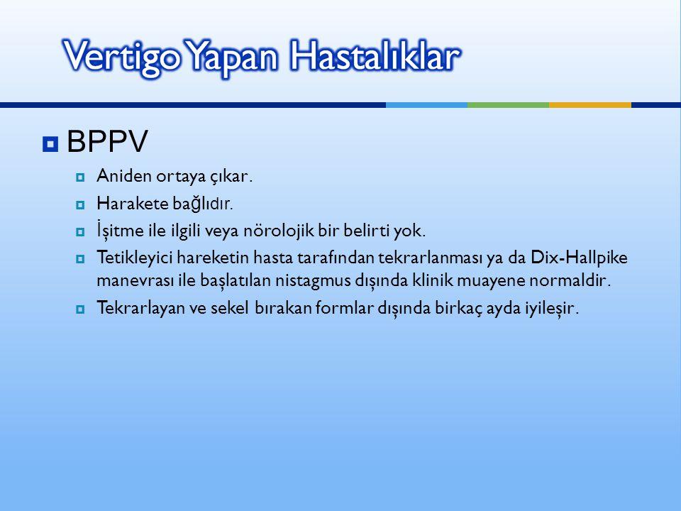 BPPV Aniden ortaya çıkar. Harakete bağlıdır.