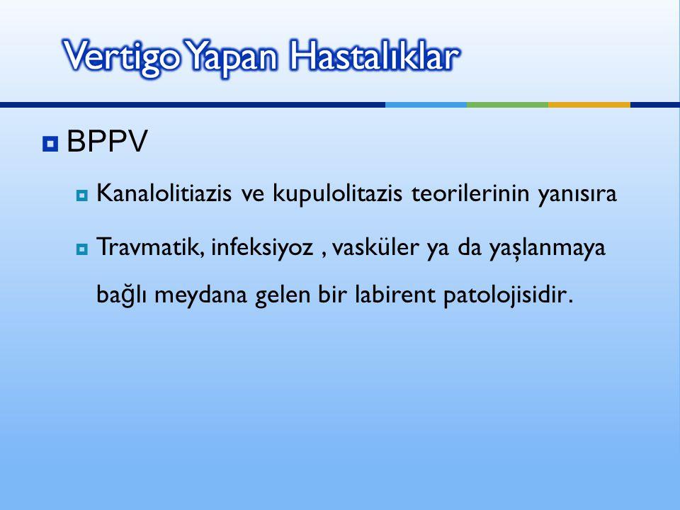 BPPV Kanalolitiazis ve kupulolitazis teorilerinin yanısıra
