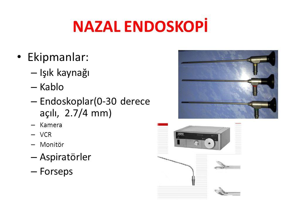 NAZAL ENDOSKOPİ Ekipmanlar: Işık kaynağı Kablo