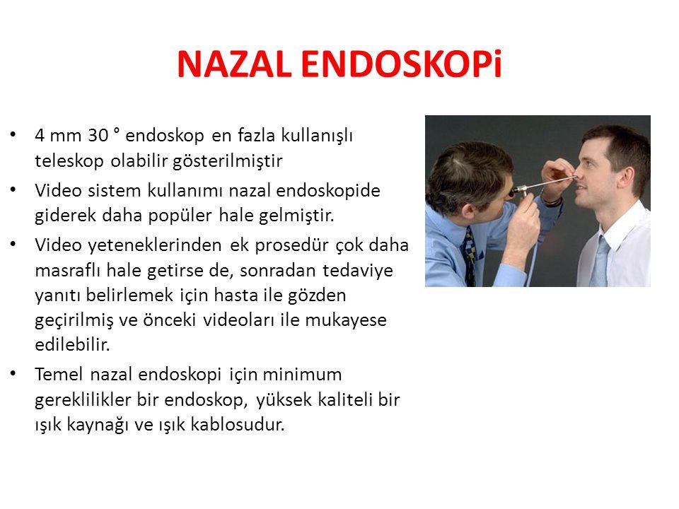 NAZAL ENDOSKOPi 4 mm 30 ° endoskop en fazla kullanışlı teleskop olabilir gösterilmiştir.