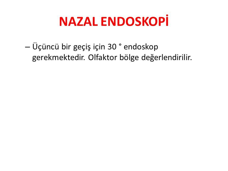 NAZAL ENDOSKOPİ Üçüncü bir geçiş için 30 ° endoskop gerekmektedir. Olfaktor bölge değerlendirilir.