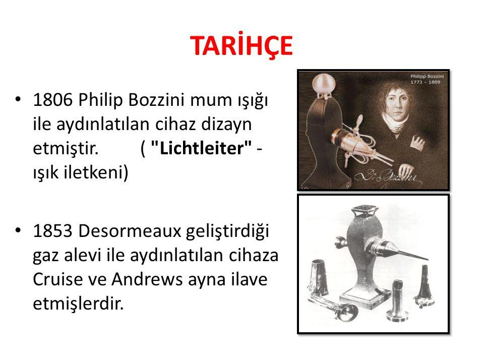 TARİHÇE 1806 Philip Bozzini mum ışığı ile aydınlatılan cihaz dizayn etmiştir. ( Lichtleiter -ışık iletkeni)