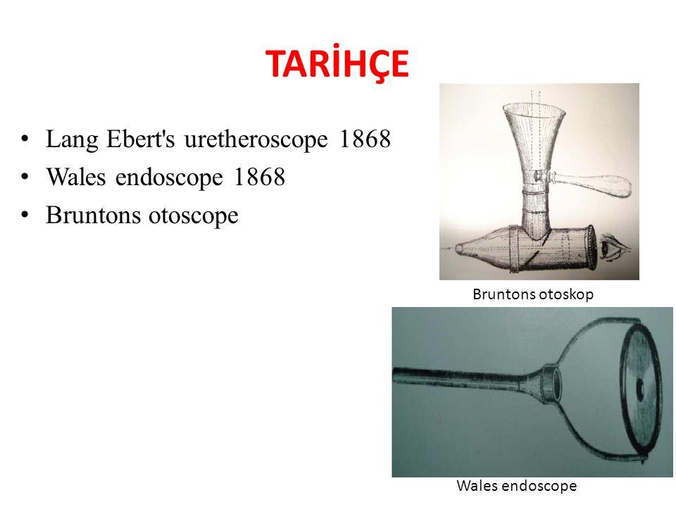 TARİHÇE Lang Ebert s uretheroscope 1868 Wales endoscope 1868