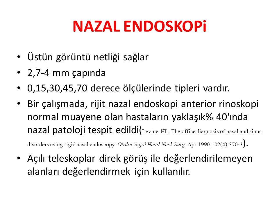 NAZAL ENDOSKOPi Üstün görüntü netliği sağlar 2,7-4 mm çapında