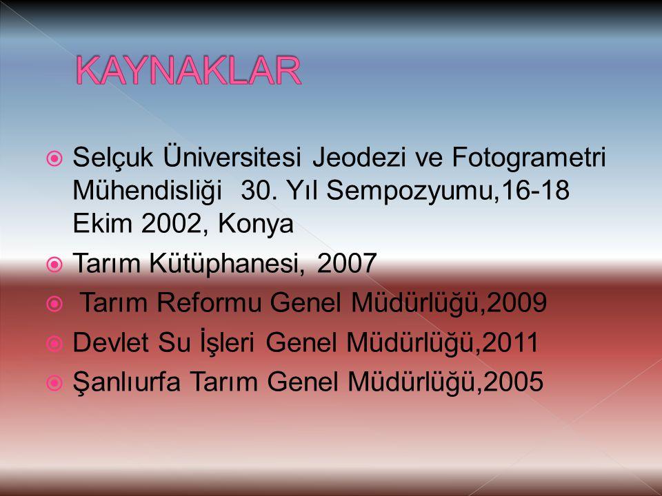 KAYNAKLAR Selçuk Üniversitesi Jeodezi ve Fotogrametri Mühendisliği 30. Yıl Sempozyumu,16-18 Ekim 2002, Konya.