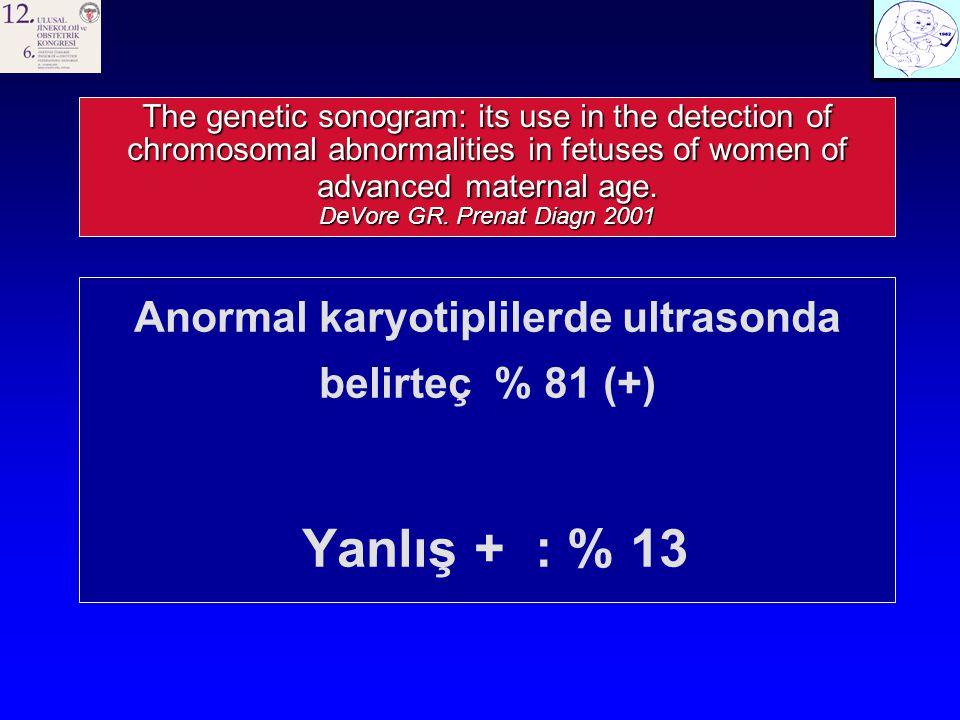 Anormal karyotiplilerde ultrasonda belirteç % 81 (+)