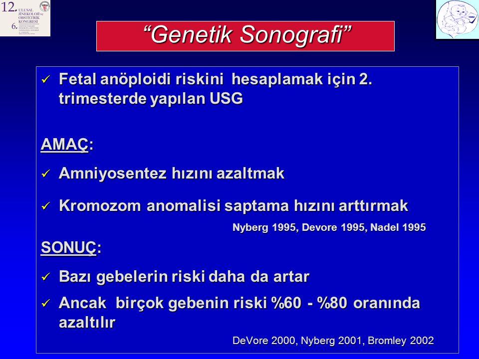 Genetik Sonografi Fetal anöploidi riskini hesaplamak için 2. trimesterde yapılan USG. AMAÇ: Amniyosentez hızını azaltmak.